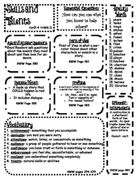 Wonders Reading Skills Posters for 3rd Grade Unit 4