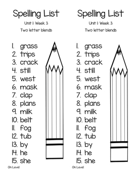 Wonders Spelling List Second Grade Unit 1