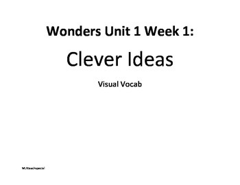 Wonders Reading Unit 1 Week 1 Visual Vocab