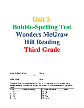 Wonders Reading Unit 2 Spelling Bubble-Tests