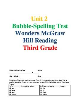 Wonders Reading Unit 2 Spelling Bubble-Tests
