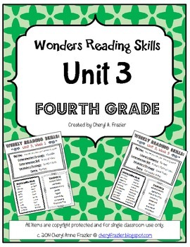 Wonders Reading Unit 3 Skill, Vocab, and Spelling List (4th grade)