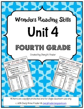Wonders Reading Unit 4 Skill, Vocab, and Spelling List (4th grade)