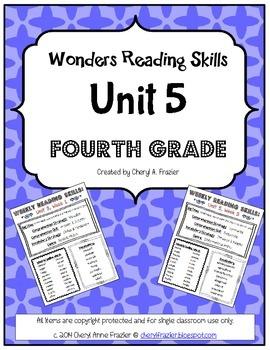 Wonders Reading Unit 5 Skill, Vocab, and Spelling List (4th grade)