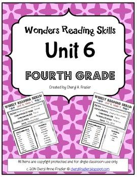 Wonders Reading Unit 6 Skill, Vocab, and Spelling List (4th grade)