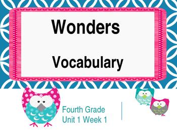 Wonders Reading Vocabulary 4th Grade Unit 1 Week 1 Owl Pow
