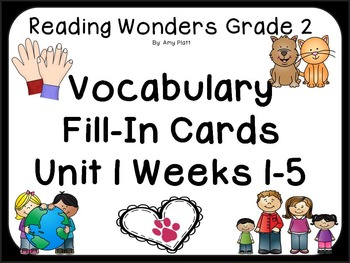 Wonders Reading Vocabulary  Fill-In Unit 1 Cards CCSS