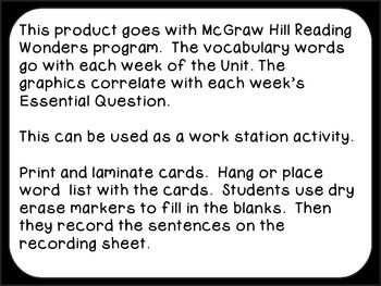 Wonders Reading Vocabulary Fill-In Unit 2 Cards CCSS