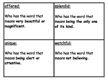 """Wonders Reading """"Who Has Vocabulary Game for Unit 3 Weeks 1-5"""