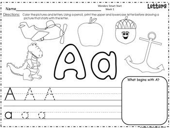 Wonders Reading for Kindergarten Smart Start Week 1 Extension Activities!