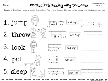 Wonders Reading for Kindergarten: Unit 10 Week 3 Extension Activities