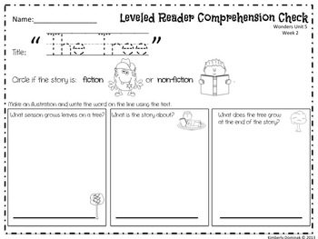 Wonders Reading for Kindergarten: Unit 5 Week 2 Extension Activities