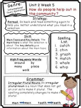 Wonders Readng Grade 1 Unit 2 Newsletter / Study Guides