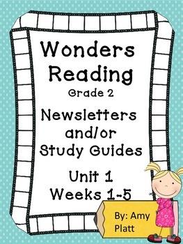 Wonders Readng Grade 2  Unit 1 Newsletter / Study Guides