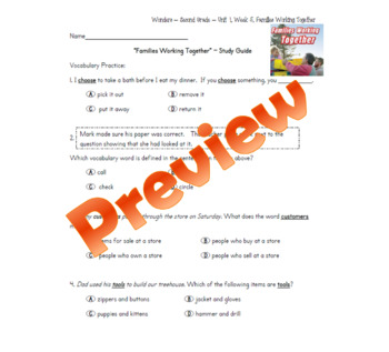 "Wonders, Second Grade, Unit 1, Week 5 Study Guide - ""Families Working Together"""