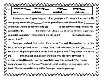 Wonders Second Grade Vocabulary Cloze Passages Unit 6