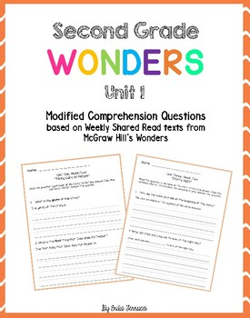 Wonders Shared Read Comprehension Questions - Grade 2