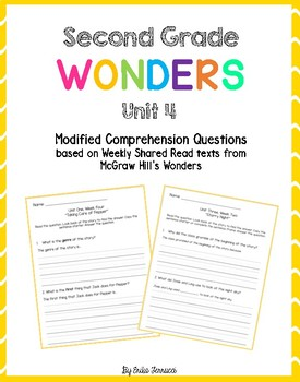 Wonders Shared Read Comprehension Questions - Grade 2, Unit 4