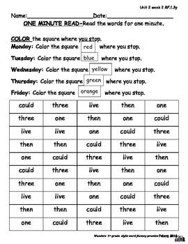 Wonders Sight Word Fluency Unit 2 Week 2