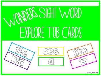 Wonders Sight Words Explore Tub Activity