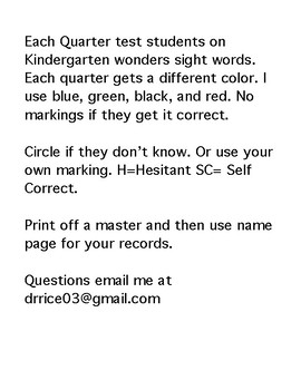 McGraw Hill Wonders Sight Words (Kindergarten)