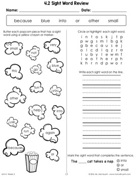 Wonders Sight Word Weekly Worksheets: Units 1-6