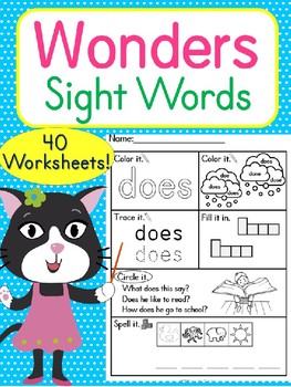 Wonders Sight Words Worksheets & Flash Cards 40+ pages McGraw-Hill RF.K.3.c