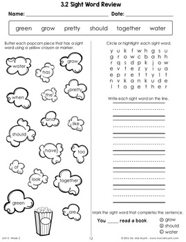 Wonders Sight Word Worksheets: Unit 3
