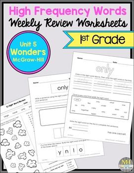 Wonders Sight Word Worksheets: Unit 5