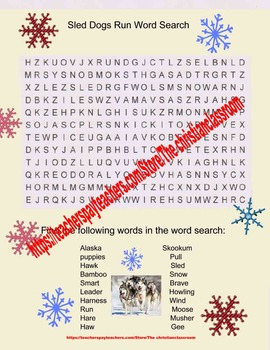 Wonders Sled Dogs Run Word Search