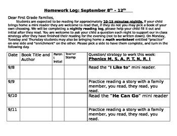 Wonders Smart Start Week 1 reading log
