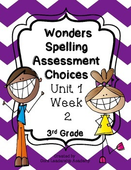 Wonders Spelling Assessment Choices Unit 1  Week  2