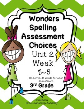Wonders Spelling Assessment Choices Unit 2  Week  1~5