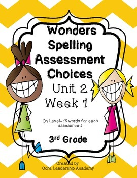 Wonders Spelling Assessment Choices Unit 2  Week 1
