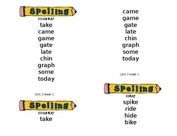 Wonders Spelling List (unit 3)