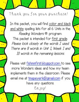 Wonders Spelling Lists for Focus Wall ~ First Grade