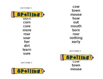 Wonders Spelling Lists (unit 5)