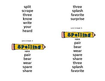 Wonders Spelling Lists (unit 6)