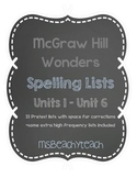 Wonders 2nd Grade Spelling Pretest Lists {Units 1-6}