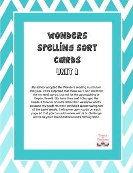 Wonders Spelling Sort Cards - Unit 1 Grade 4