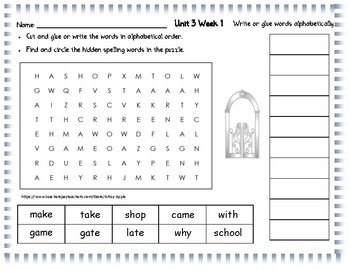 Wonders Spelling Unit 3 Word Search