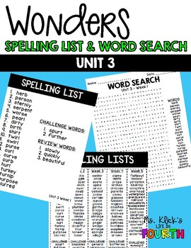 Wonders - Spelling & Word Search - Unit 3