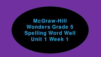 Wonders Spelling Word Wall Grade 5