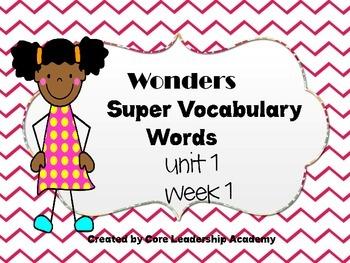 Wonders  Super Vocabulary Word Cards Unit 1 Week 1