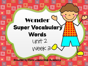 Wonders  Super Vocabulary Word Cards Unit 2 Week 3