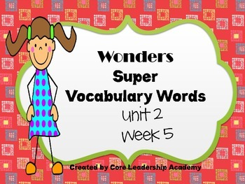 Wonders  Super Vocabulary Word Cards Unit 2 Week 5
