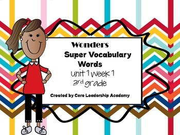 Wonders  Super Vocabulary Word Cards Unit 3 Week 1