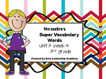 Wonders  Super Vocabulary Word Cards Unit 3 Week 4