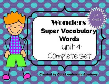 Wonders  Super Vocabulary Word Cards Unit 4 Complete Set