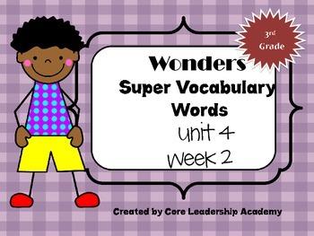 Wonders  Super Vocabulary Word Cards Unit 4 Week 2
